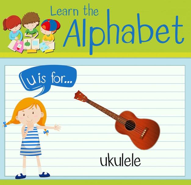 Flashcard litera u jest dla ukulele