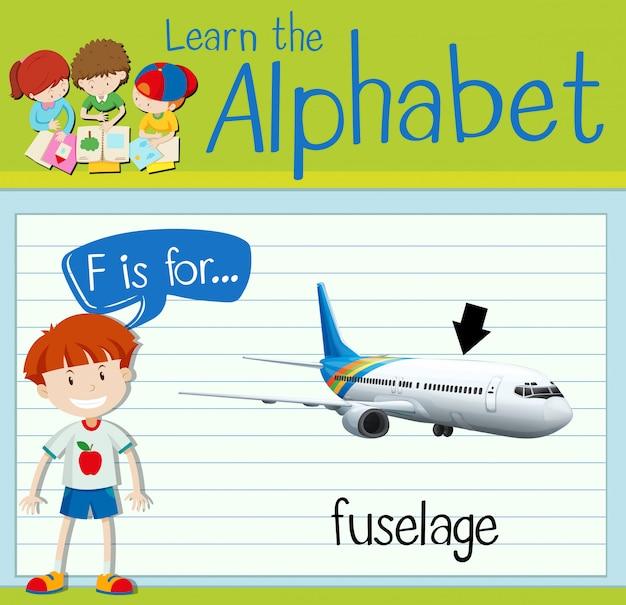 Flashcard literę f to kadłub samolotu