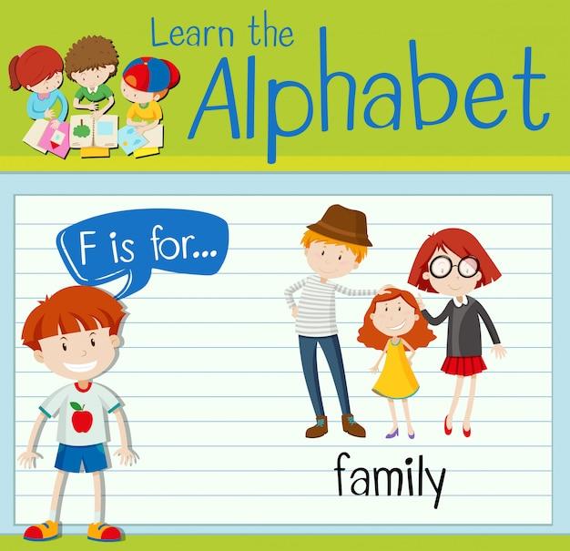 Flashcard literka f jest dla rodziny