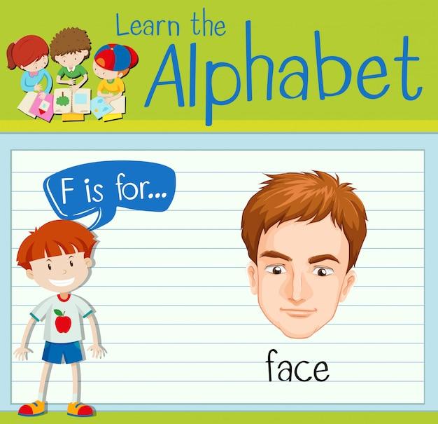 Flashcard literka f jest dla twarzy