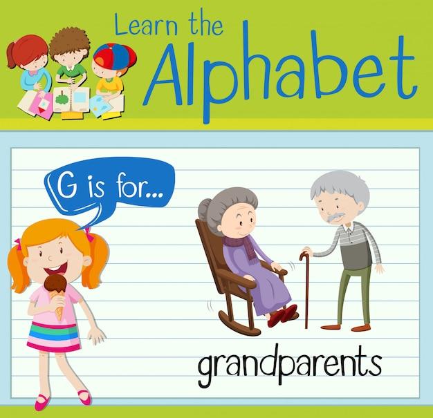Flashcard literka g jest dla dziadków