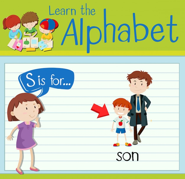 Flashcard literka s jest dla syna