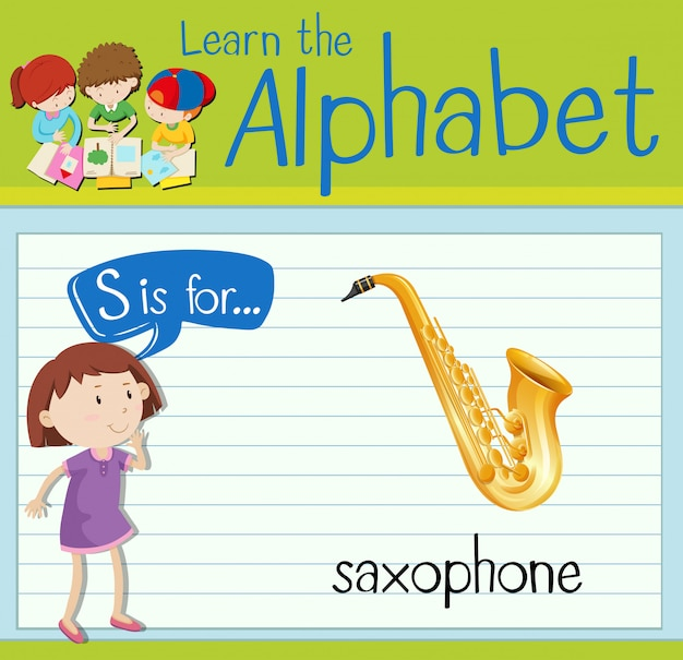 Flashcard literka s jest przeznaczona na saksofon