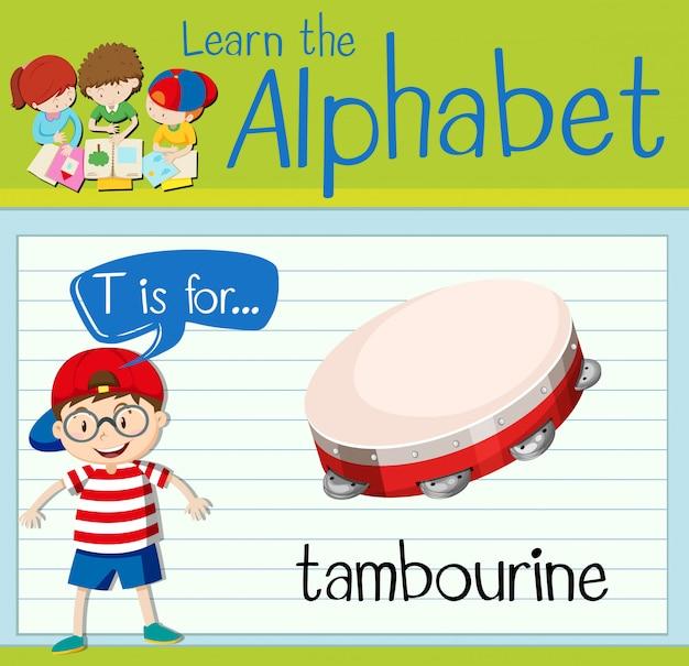 Flashcard literka t jest dla tamburyny