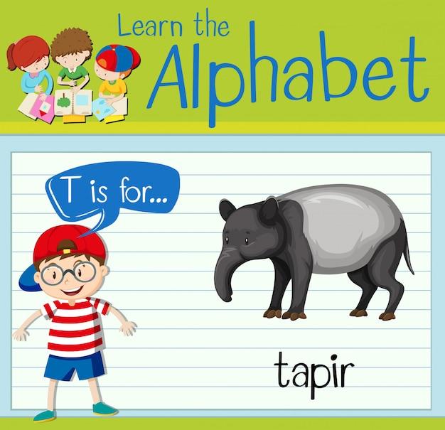 Flashcard literka t jest dla tapira