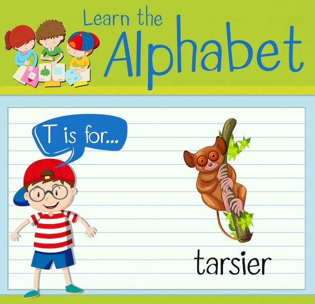 Flashcard literka t jest dla tarsier