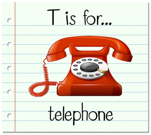 Flashcard literka t jest dla telefonu