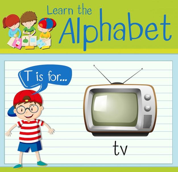 Flashcard literka t jest dla tv