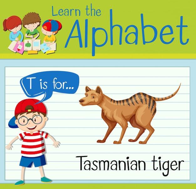 Flashcard literka t jest dla tygrysa tasmańskiego