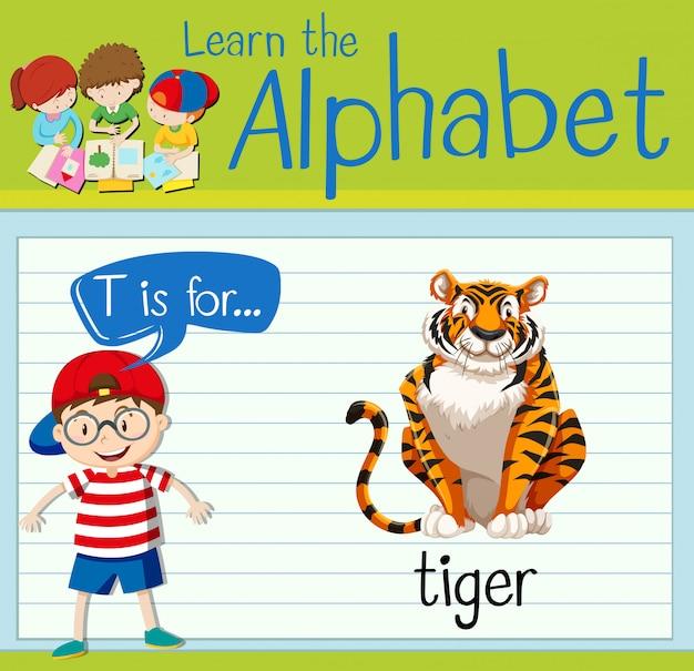 Flashcard literka t jest dla tygrysa