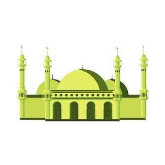 Flat big mosque with towers