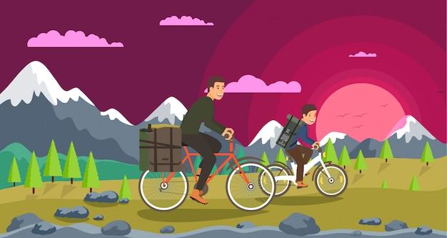 Flat cycling joint leisure rodzice i dzieci.