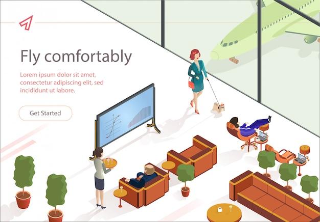 Flat Fly Komfortowo Izometryczny Salon Pierwszej Klasy. Premium Wektorów