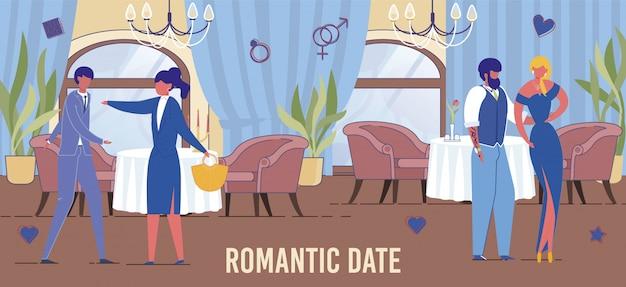 Flat loving couples romantic date in restaurant.