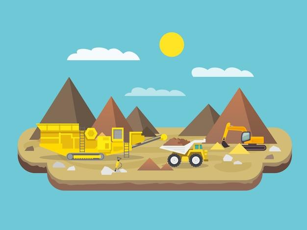 Flat quarry illustration