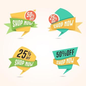 Flat shop now, oferuje odznaki dla banerów i stron internetowych e commerce