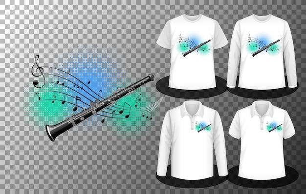 Flet z logo nut muzycznych z zestawem różnych koszul z fletem z ekranem logo nut na koszulkach