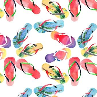 Flip flops wzór akwarela szkic dłoni