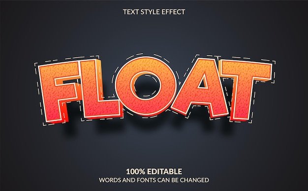 Float edytowalny styl efektu tekstu
