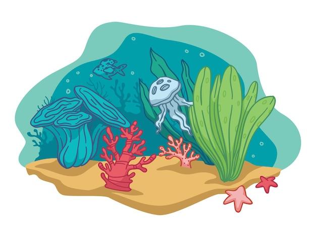 Flora i fauna pod wodą, odosobniona głębia morza lub oceanu. sceneria życia morskiego. akwarium z wodorostami i rozgwiazdami, meduzą lub ośmiornicą. piaszczyste dno z dekoracją botaniczną. wektor w stylu płaskiej