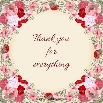 Floral dziękuję karty