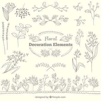 Floral elementy dekoracyjne kolekcji