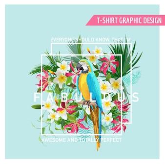 Floral graphic design - tropikalne kwiaty i papuga ptak - na t-shirt, modę, nadruki