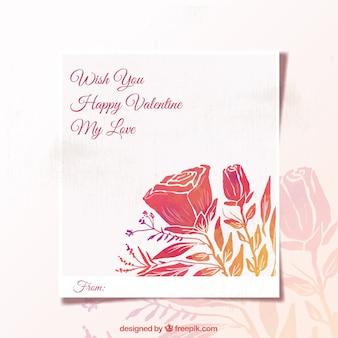 Floral kartkę z życzeniami na walentynki w stylu akwareli