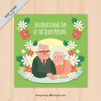 Floral karty międzynarodowego dnia osób starszych