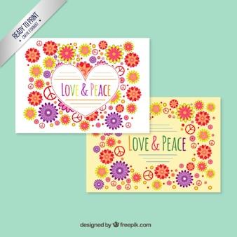 Floral karty miłość i pokój