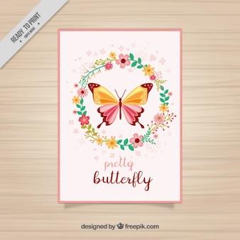 Floral karty motyla z wieniec kwiatów