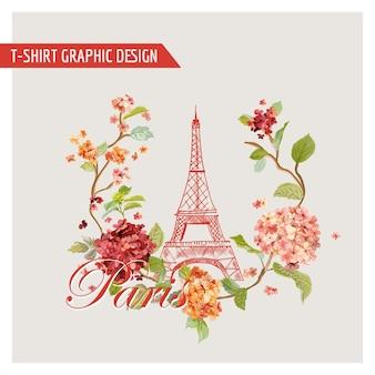 Floral Paris Graphic Design - Na Koszulkę Premium Wektorów