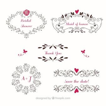 Floral ramki ślub ze szczegółami kolorów