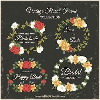 Floral ramki ślubne prysznic w stylu vintage