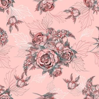 Floral seamless pattern bukiet róż piwonie i bzy.