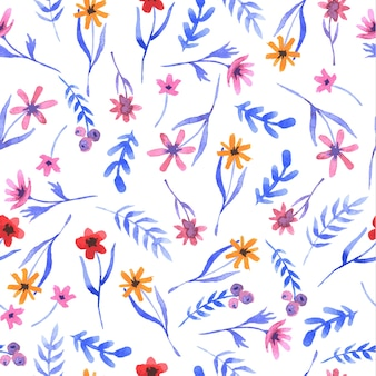 Floral wyciągnąć rękę akwarelowy wzór