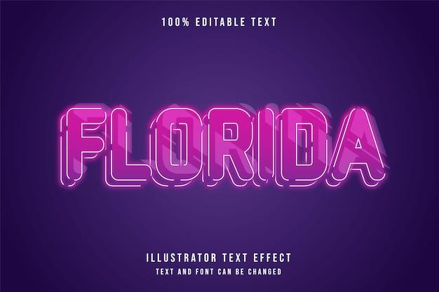 Florida, 3d edytowalny efekt tekstowy różowy gradacja fioletowy neon warstwy stylu