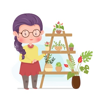 Flower garden cute concept concept ilustracja zostań w domu