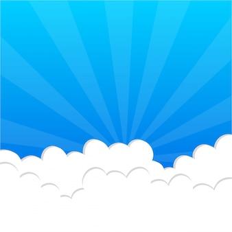 Fluffy chmury w błękitne niebo
