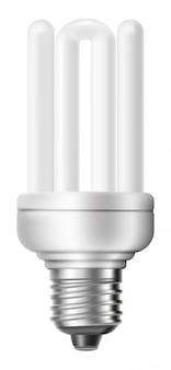 Fluorescencyjna energooszczędna żarówka odizolowywająca na białym tle.