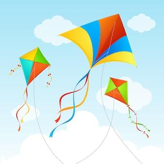Fly kite in sky.
