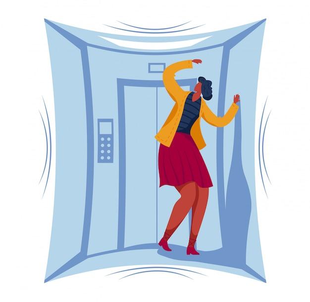 Fobia postaci kobiecych zamkniętej przestrzeni, kobieta utknęła mały obszar windy na białym