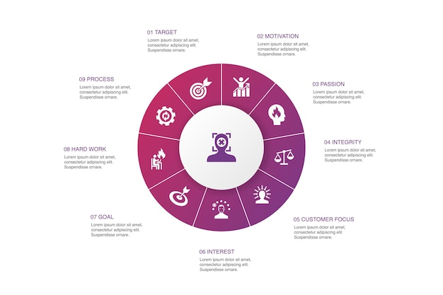 Focus infographic 10 kroków koło design.target, motywacja, integralność, proste ikony procesu