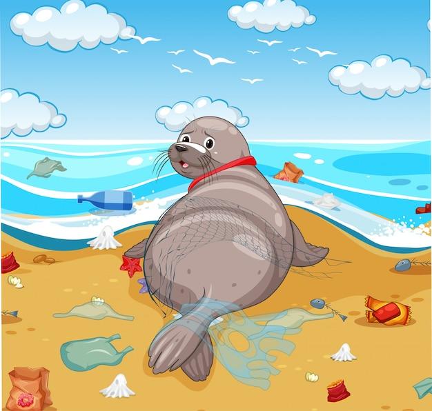 Foka pokryta siatką i plastikowymi torbami na plaży