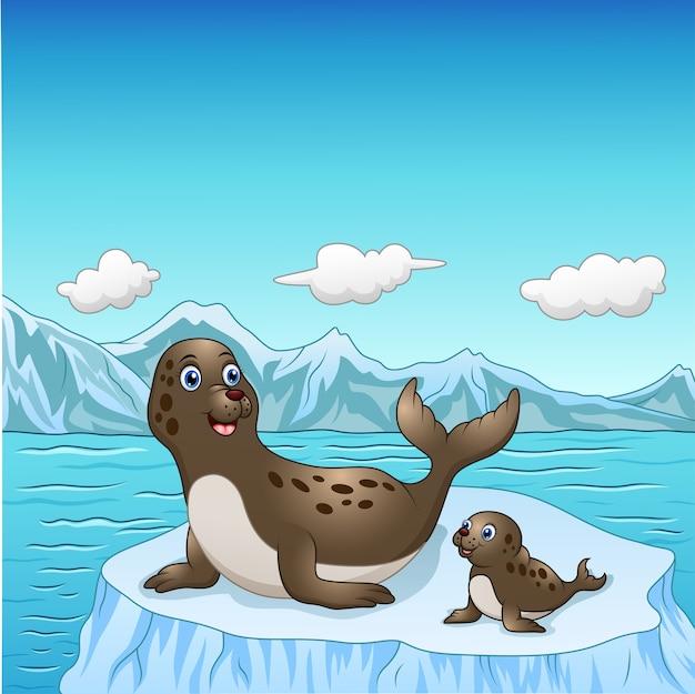 Foka rodzinna kreskówka na lodowych floes