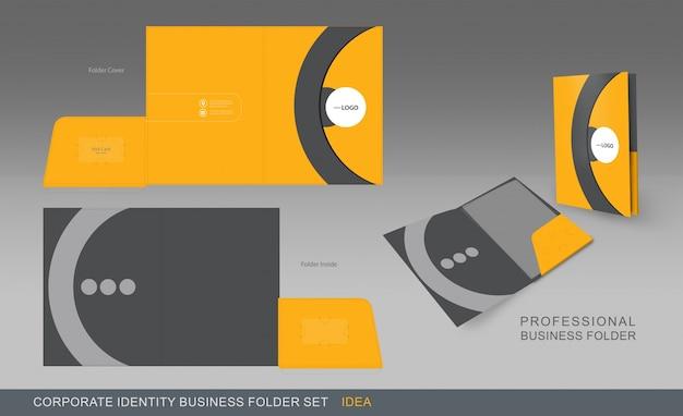 Folder biznesowy żółty i szary