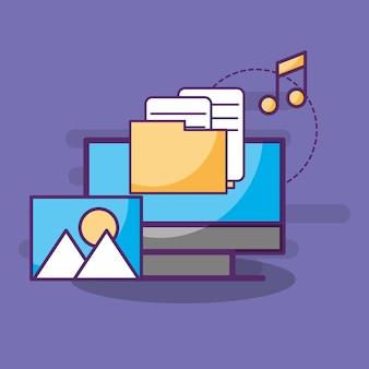 Folder komputer dokumentuje pliki muzyczne zdjęcie