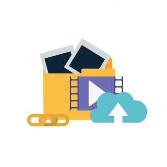 Folder z ikona na białym tle obiektów