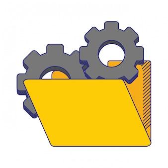 Folder z niebieskimi symbolami kół zębatych