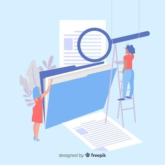 Folder ze stroną docelową szkła powiększającego
